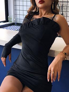Irregular Cutting Single Sleeve Black Short Dress