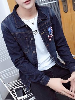 Stylish Skeleton Printed Male Denim Jacket