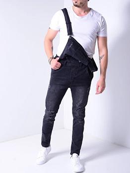 Street Style Button Up Men Black Denim Overalls