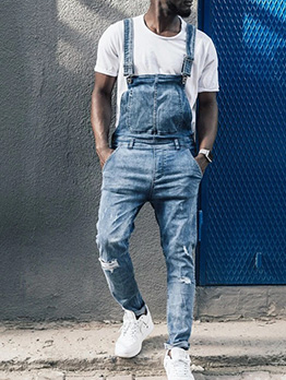 Adjustable Belt Skinny Distressed Denim Overalls