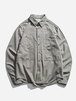 Turndown Neck Letter Cotton Long Sleeve Shirts
