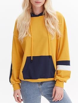 Color Block Long Sleeve Pullover Hoodie
