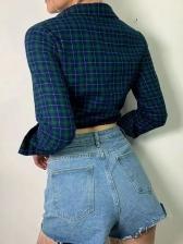 Vintage Cropped Top Lace Plaid Ladies Blouse
