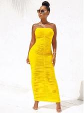 Hot Sale Boat Neck Solid Color Strapless Dress