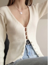 Sweat Pearl Button Knitting Cardigan
