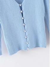 Sweat Faux Pearl Button Knitting Cardigan