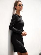 Solid Color Backless Velvet Long Sleeve Dress