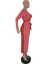 Stitching Color Tie-Wrap Bodycon Maxi Dresses