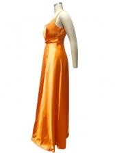 Night Club Spaghetti Straps Splic Maxi Dress