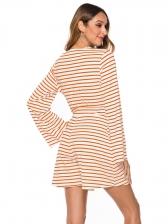 V Neck Bow Side Pockets Striped Long Sleeve Romper