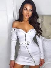 Off Shoulder Zipper Up Long Sleeve Bodycon Dress