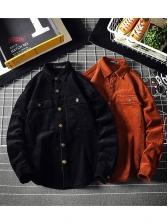 Retro Button Down Corduroy Solid Outerwear