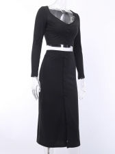Cropp Splic Black Two Piece Skirt And Top