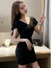 V Neck Hollow Out Ruffles Sleeve Black Dress