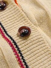 Loose Contrast Color Long Cardigan Coat