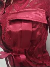 Turndown Collar Lace Long Sleeve 2 Piece Pants Set