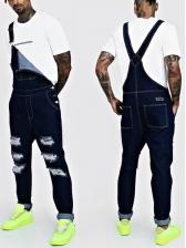 Trendy Adjustable Belt Ripped Men Denim Overalls