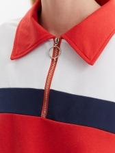 Turndown Collar Color Block Long Sleeve Sweatshirt