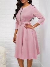 Solid Color Smart Waist Half Sleeve Women Dress