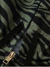 Zebra Stripe Hooded Crop Top And Skirt Set