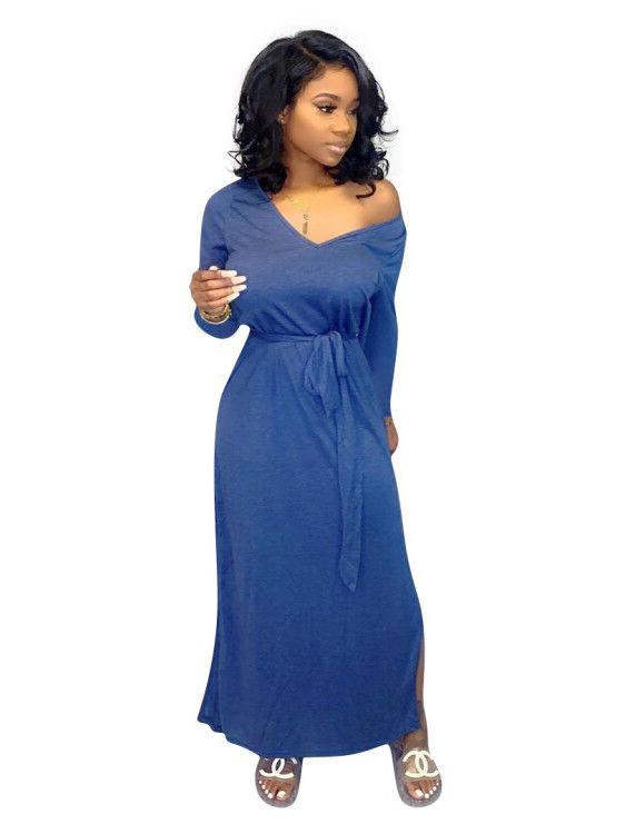 V Neck Blue Tie-Wrap Maxi Dresses For Women
