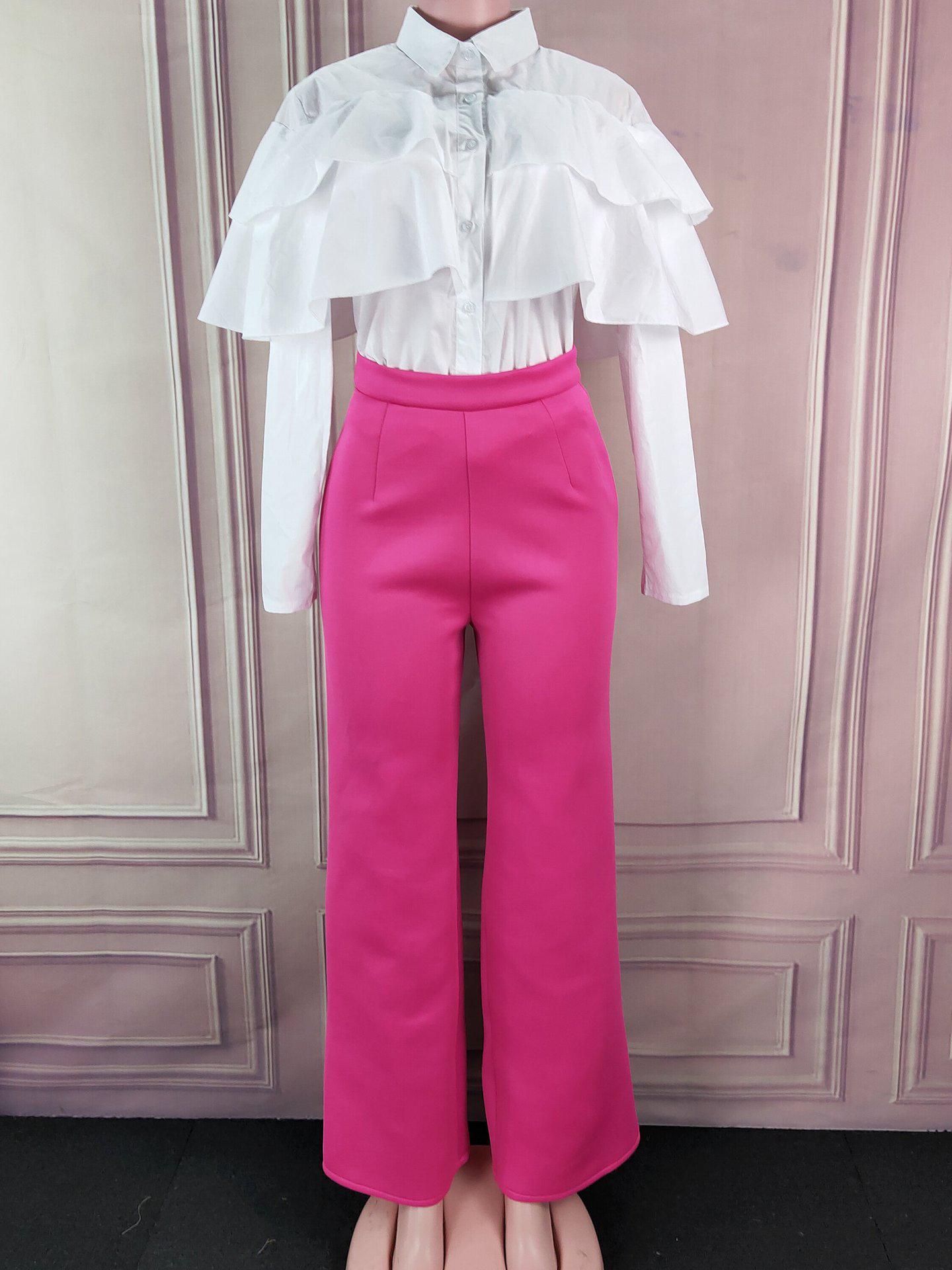 Ruffle Single Breasted Long Sleeve 2 Piece Pants Set