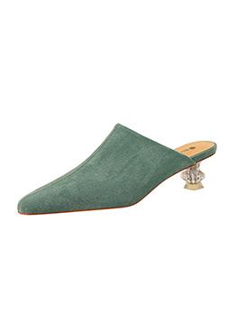 Clear Heels Suede Mules Shoes Ladies Slippers