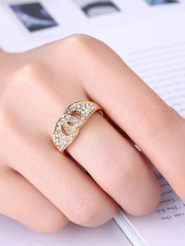 Chic Cross-Hollow Zircon Decor Ring
