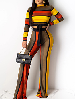 Contract Color Striped Cropped Womens Co Ord Sets