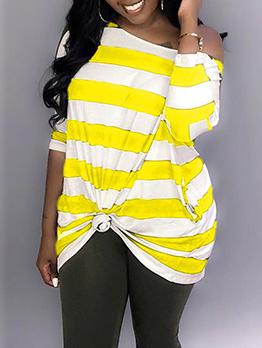 Loose Striped Incline Shoulder Long Sleeve Dress