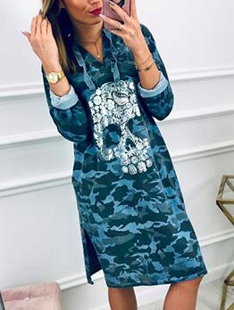 Hooded Collar Skull Printed Long Sleeve Camo Dress
