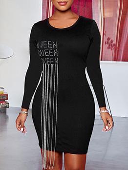 Rhinestones Tassel Decor Long Sleeve Bodycon Dress