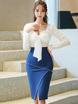 Bow Decor Contrast Color Slim 2 Piece Skirt Set