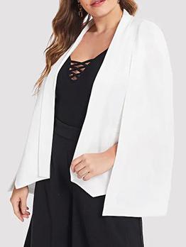 Minimalist Cloak Sleeves Plus Size White Blazer
