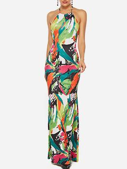 Backless Colour Printing Halter Prom Dresses Long