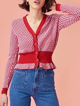 Vintage Patchwork Slim Waist Cardigan Sweater