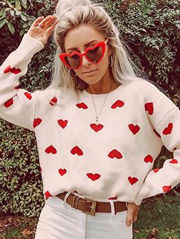 Love Printed Knitting Ladies Sweater