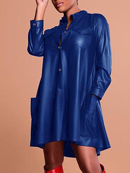 Stand Neck Button Up Pu Long Sleeve Dress For Women