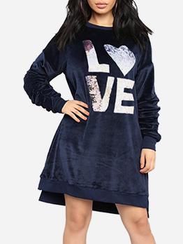 Letter Thicker Velvet Long Sleeve Dress