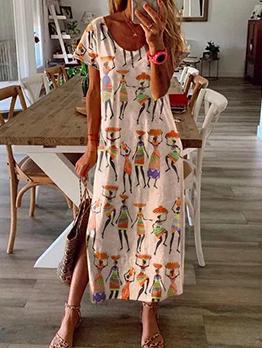 Loose Figure Printed Short Sleeve Midi Dress