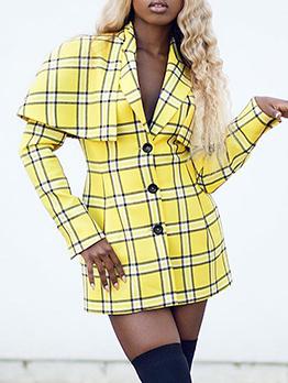 Cloak Style Single-Breasted Yellow Plaid Blazer Dress