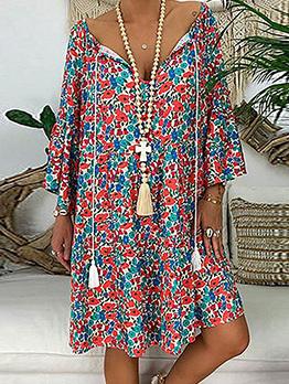 Loose v Neck Long Sleeve Floral Dress