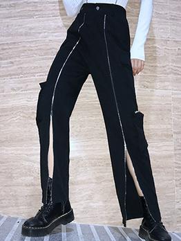 Casual Multi-Pocket Zipper Decor Cargo Pants For Women