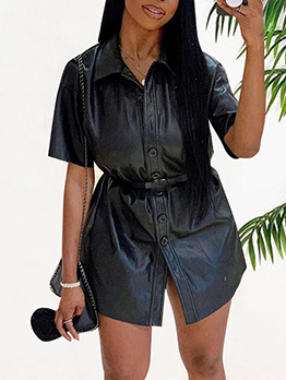 Stand Neck Black Pu Short Sleeve Casual Dresses