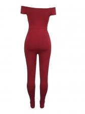 Pure Color Off Shoulder V Neck Jumpsuits