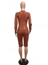 Matt Hollow Out Mid Calf Jumpsuits For Women