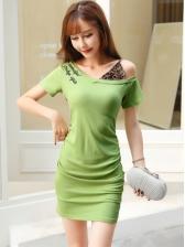 V Neck Slim Glitter Short Sleeve Bodycon Dress