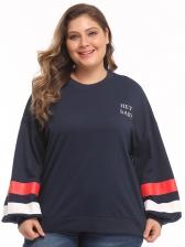 Striped Patchwork Lantern Sleeve Plus Size Sweatshirt