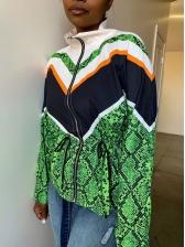 Color Block Drawstring Design Snake Printed Ladies Coat