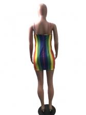Colorful Striped Bodycon Sexy Dress